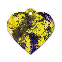Yellow And Purple Splatter Paint Pattern Dog Tag Heart (one Side) by traceyleeartdesigns