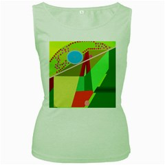Colorful abstraction Women s Green Tank Top by Valentinaart