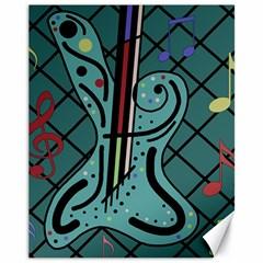 Blue Guitar Canvas 11  X 14   by Valentinaart