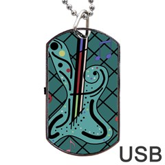 Blue Guitar Dog Tag Usb Flash (two Sides)  by Valentinaart