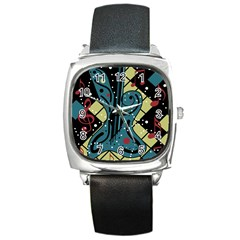 Playful Guitar Square Metal Watch by Valentinaart