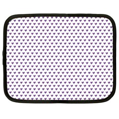 Purple Small Hearts Pattern Netbook Case (large) by CircusValleyMall
