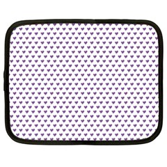 Purple Small Hearts Pattern Netbook Case (xxl)  by CircusValleyMall
