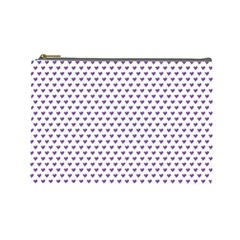 Purple Small Hearts Pattern Cosmetic Bag (large)  by CircusValleyMall