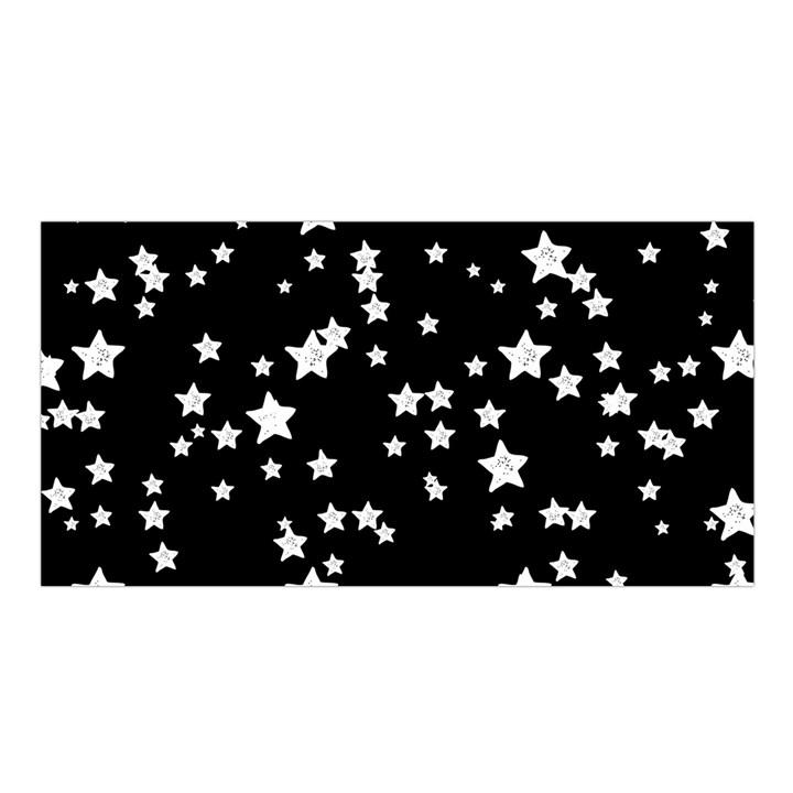 Black and White Starry Pattern Satin Shawl
