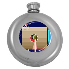 Decorative Abstraction Round Hip Flask (5 Oz) by Valentinaart