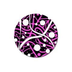 Purple Harmony Magnet 3  (round) by Valentinaart