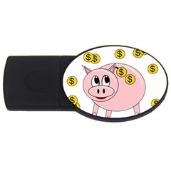 Piggy Bank  Usb Flash Drive Oval (4 Gb)  by Valentinaart