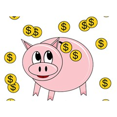 Piggy Bank  Birthday Cake 3d Greeting Card (7x5) by Valentinaart