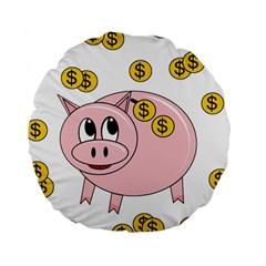 Piggy Bank  Standard 15  Premium Round Cushions by Valentinaart