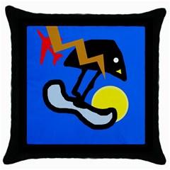Little Bird Throw Pillow Case (black) by Valentinaart