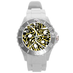 Yellow Movement Round Plastic Sport Watch (l) by Valentinaart