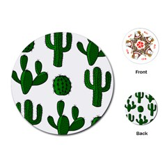 Cactuses Pattern Playing Cards (round)  by Valentinaart