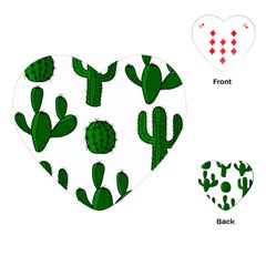 Cactuses Pattern Playing Cards (heart)  by Valentinaart