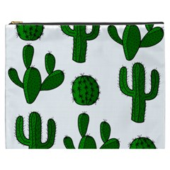 Cactuses Pattern Cosmetic Bag (xxxl)  by Valentinaart