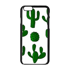 Cactuses Pattern Apple Iphone 6/6s Black Enamel Case by Valentinaart