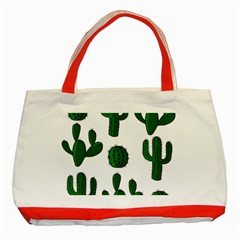 Cactuses Pattern Classic Tote Bag (red) by Valentinaart