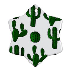 Cactuses Pattern Snowflake Ornament (2 Side) by Valentinaart