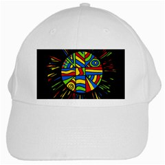 Colorful Bang White Cap by Valentinaart