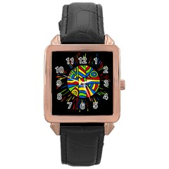 Colorful Bang Rose Gold Leather Watch  by Valentinaart