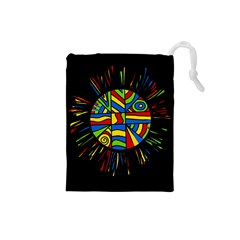 Colorful Bang Drawstring Pouches (small)  by Valentinaart