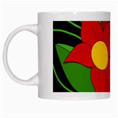 Red Flowers White Mugs by Valentinaart