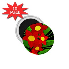 Red Flowers 1 75  Magnets (10 Pack)  by Valentinaart