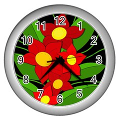 Red Flowers Wall Clocks (silver)  by Valentinaart