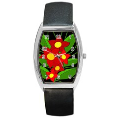 Red Flowers Barrel Style Metal Watch by Valentinaart