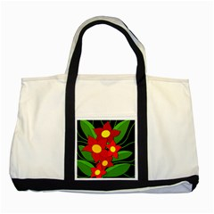Red Flowers Two Tone Tote Bag by Valentinaart