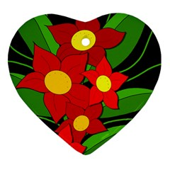 Red Flowers Heart Ornament (2 Sides) by Valentinaart