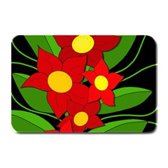 Red Flowers Plate Mats by Valentinaart