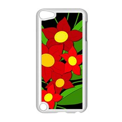 Red Flowers Apple Ipod Touch 5 Case (white) by Valentinaart