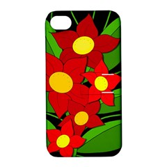 Red Flowers Apple Iphone 4/4s Hardshell Case With Stand by Valentinaart