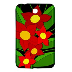 Red Flowers Samsung Galaxy Tab 3 (7 ) P3200 Hardshell Case  by Valentinaart