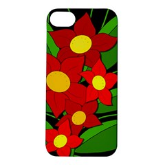 Red Flowers Apple Iphone 5s/ Se Hardshell Case by Valentinaart