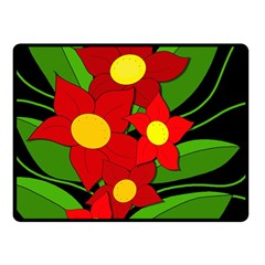 Red Flowers Double Sided Fleece Blanket (small)  by Valentinaart