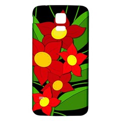 Red flowers Samsung Galaxy S5 Back Case (White) by Valentinaart