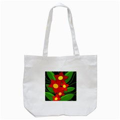 Red Flowers Tote Bag (white) by Valentinaart
