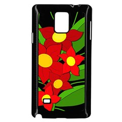Red Flowers Samsung Galaxy Note 4 Case (black) by Valentinaart