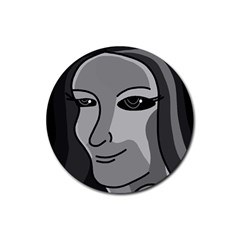 Lady   Gray Rubber Coaster (round)  by Valentinaart
