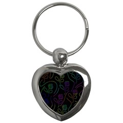 Flowers   Pattern Key Chains (heart)  by Valentinaart