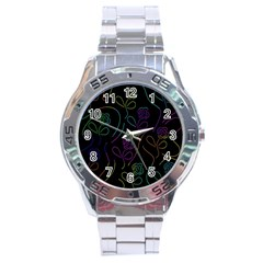 Flowers - pattern Stainless Steel Analogue Watch by Valentinaart