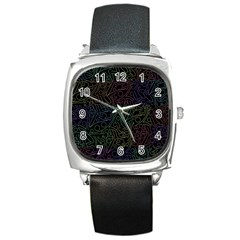 Colorful Pattern Square Metal Watch by Valentinaart