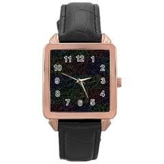Colorful Pattern Rose Gold Leather Watch  by Valentinaart