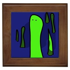 Green Snakes Framed Tiles by Valentinaart