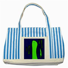 Green Snakes Striped Blue Tote Bag by Valentinaart