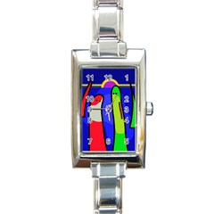 Colorful Snakes Rectangle Italian Charm Watch by Valentinaart