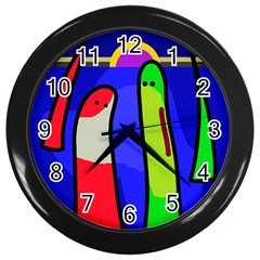 Colorful Snakes Wall Clocks (black) by Valentinaart