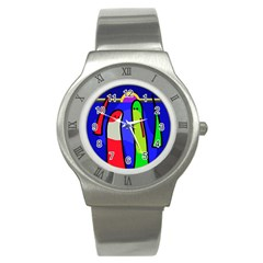 Colorful Snakes Stainless Steel Watch by Valentinaart
